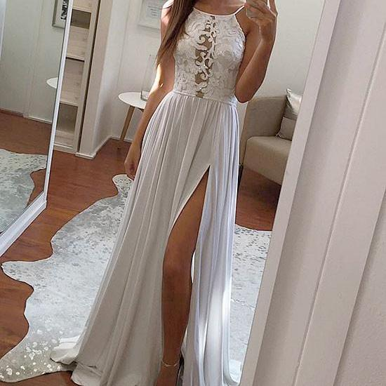 Simple White Lace Chiffon Long Evening Prom Dress