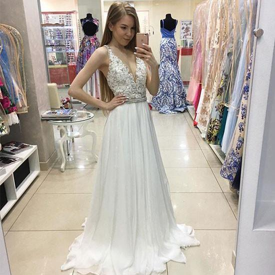 White V Neck Lace Long Prom Evening Dress