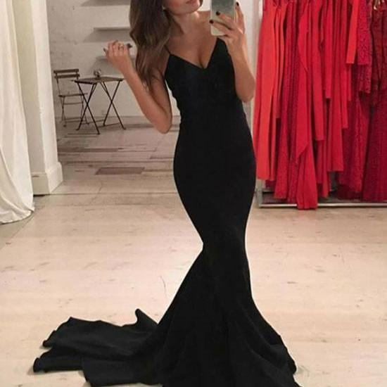 Simple Black Mermaid Long Prom Dress, Black Evening Dress