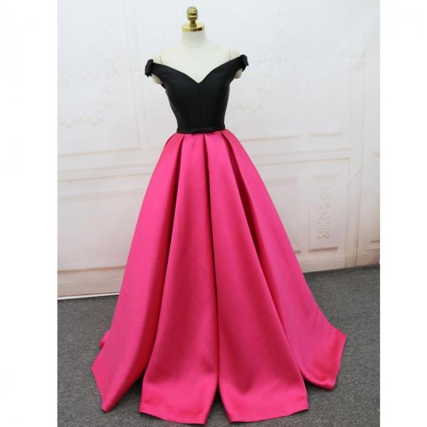 Off-the-Shoulder Satin A-line Party Dress, Beautiful Formal Gowns, Long Prom Dress