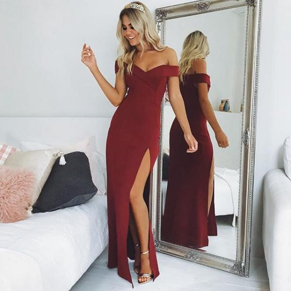 Burgundy Off Shoulder Prom Dress,Slit Side Evening Dress,Long Prom Dresses