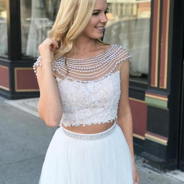 White Two Piece Lace Long Prom Dress,Floor length Pearls Evening Dresses