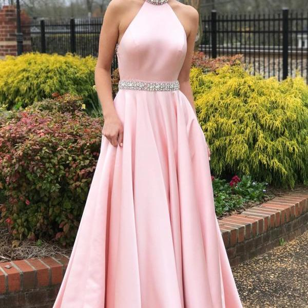 Crystal Beaded Pink Long Prom Dress with Open Back High Neck Prom Dresses