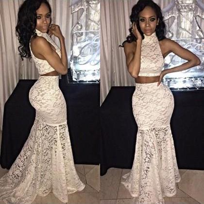 Prom dress Formal dress Two Piece White High Neck Sweep Train Lace Trumpet Mermaid Prom Dress