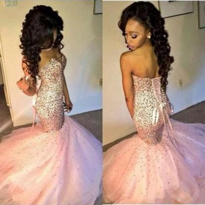 Prom dress Formal dress Crystal Pink Sweetheart Court Train Tulle Trumpet Mermaid Prom Dress