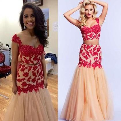 Prom Dress Formal Dress 2016 Hot Sale Red Straps Floor Length Tulle Crop Tops Trumpet Mermaid Prom Evening Dress