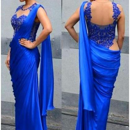 Formal Dress Prom Dress Royal Blue Jewel Floor Length Chiffon Sheath Column Prom Evening Dress