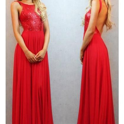 Free Shipping Formal Dress Prom Dress Backless Red Scoop Long Chiffon Prom Evening Dress