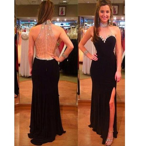 Prom Dress Formal Dress high neck luxury beading trumpet mermaid black sexy side front slit chiffon evening dress
