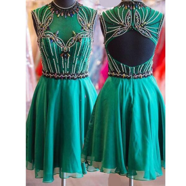 cheap homecoming dresses 2017 short,Short turquoise high neck open back vintage unique style homecoming prom dresses,