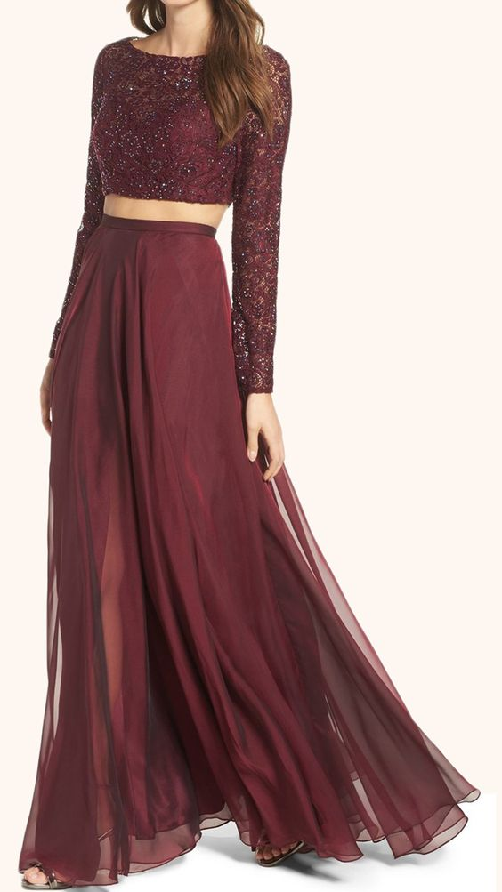 7648b4d9c8 Prom Dresses 2017 Two Piece Long Sleeves Lace Prom Gown Burgundy Formal  Dress on Luulla
