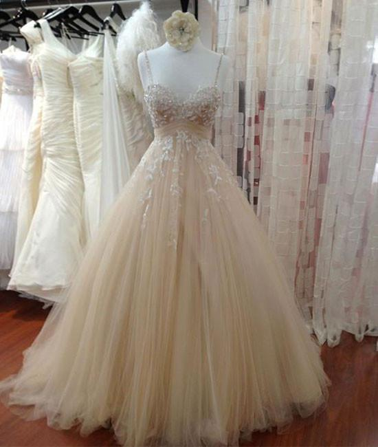 04091cf981a Cheap Champagne Tulle Lace Long Prom Dress