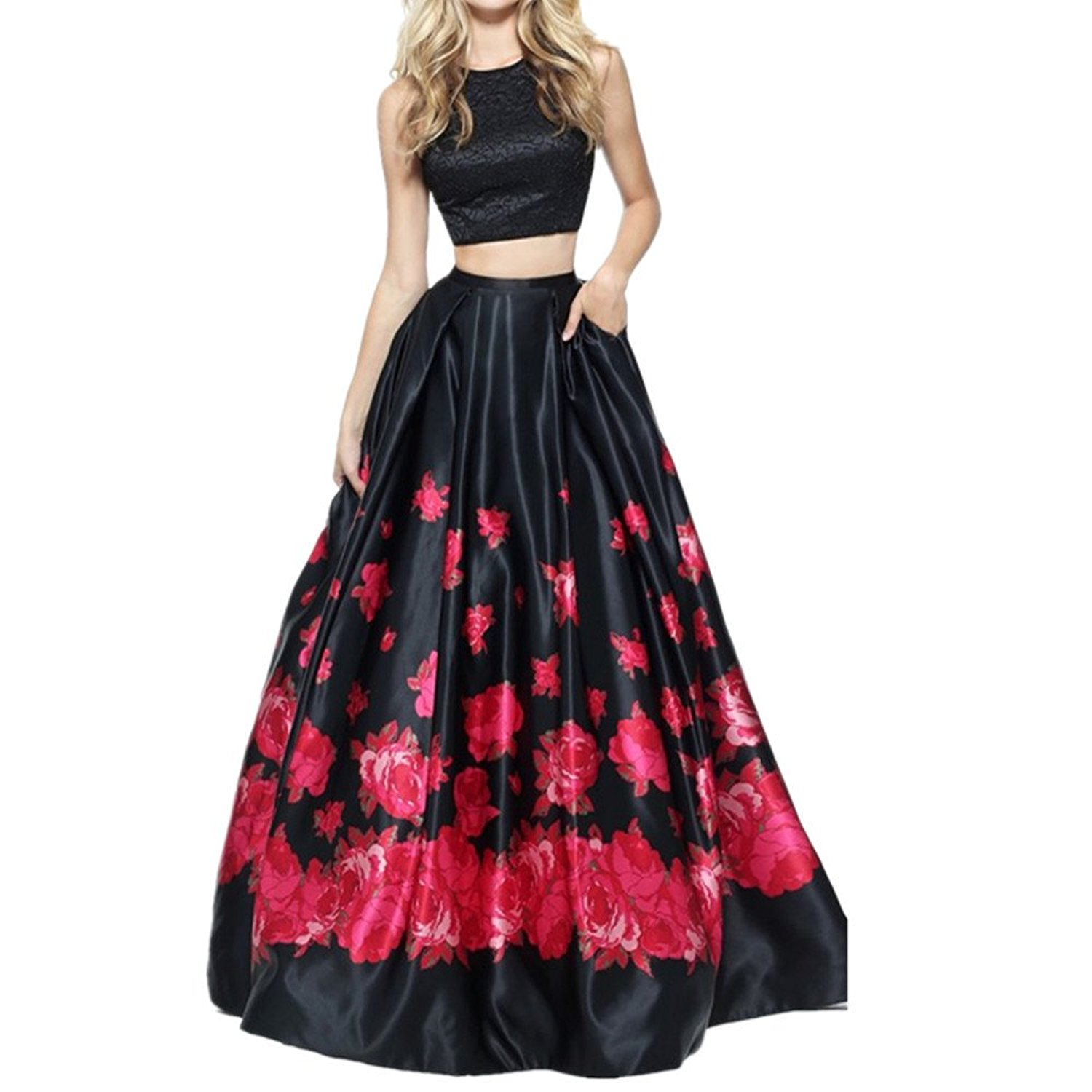 Floral Printed 2 Pieces Prom Dresses Backless Party Gowns Plus Size Two  Piece Formal Dresses